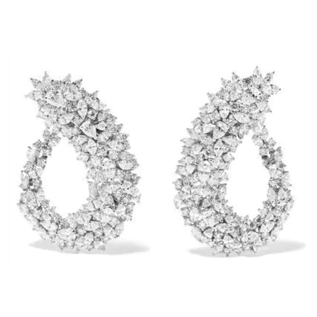 Geometry Flower Popular Curved Design Full Paved AAA Cubic Zircon Stone Middle East Wedding Drop Earrings For Women Accessories