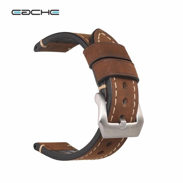 46b3fdc6f82 Retro Handmade Couro Genuíno Assista Bracelete Banda para P Relógio 20mm  22mm 24mm 26mm Com Prata