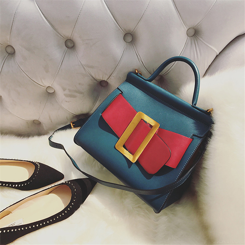 Кожа Пряжка Цвет щедрый пряжки мешок 2018 новая сумка женский Европа и США сумка портфель сумка mes