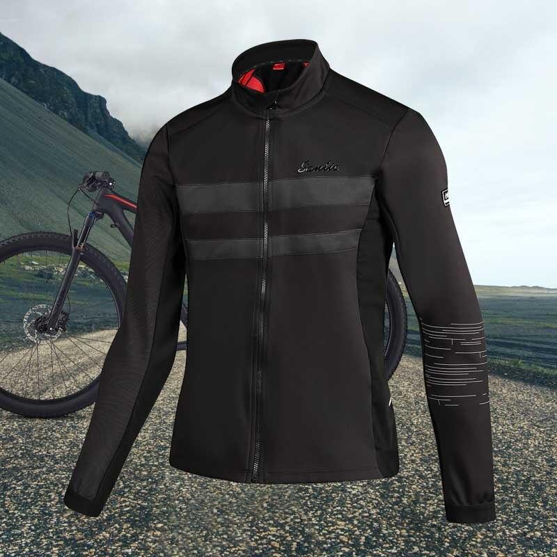 Santic Coat Jacket Cycling Maillot Reflective Black Winter MTB Autumn Men Windproof 1089