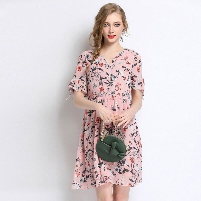 Vestito Del Stampa Dress 5xl Size 2018 Xxxl Plus Chic Donna Dimensioni Elegante Chiarore Chiffon Abito Summer Grandi Manicotto 4xl Rosa Floreale qvfX6Bx8