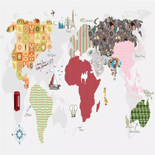 Cartoon letters world map background wall professional making mural factory wholesale wallpaper poster photo