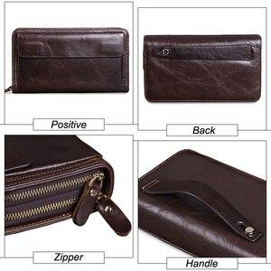 Image 4 - Мужской длинный клатч MISFITS, деловой вместительный кошелек из натуральной воловьей кожи с двумя молниями и кармашком для телефона