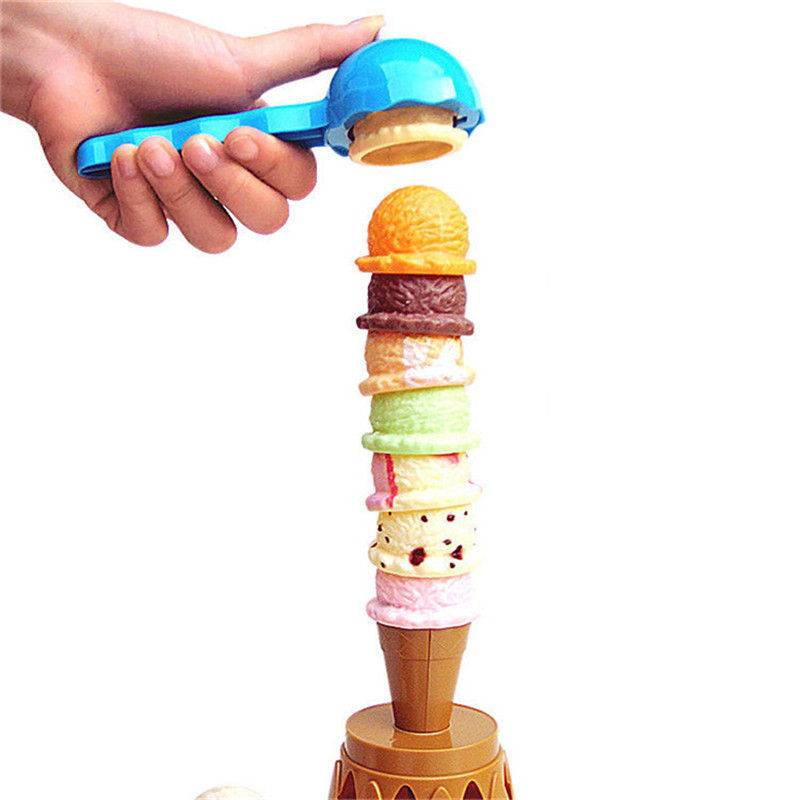 16pcs Ice Cream Stack Up Play Tower Educational Toys Kids Cute Simulation Food Toy Children Ice Cream Pretend Play ice cream print zip up back dress