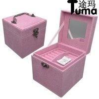 Cao cấp jewel trường hợp Công Chúa phong cách velvet jewelry hộp Ba-tier creative nhẫn hộp lưu trữ Nhỏ hộp quà tặng cho các cô gái