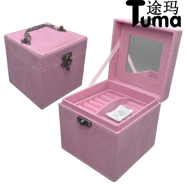 High end jewel case Princess style velvet jewelry boxes Three tier