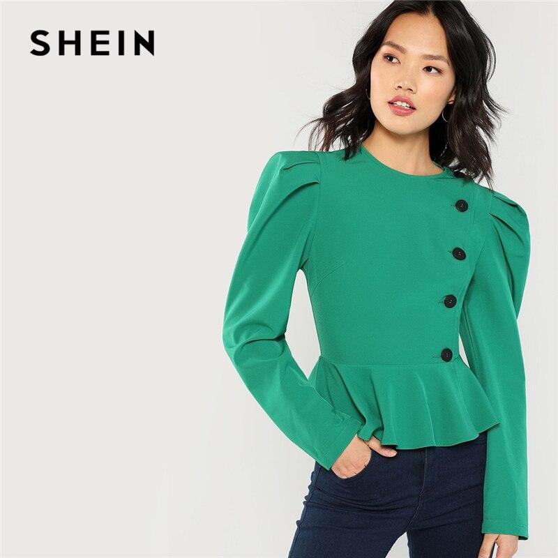 SHEIN Vert Highstreet Bureau Dame Gigot Manches Peplum Unique Poitrine Solide Veste 2018 Automne Élégant Femmes Manteau Survêtement