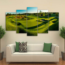 Wall Art Framework Canvas Home Decorative HD Printed Posters 5 Pieces Golf Course Painting Green Hill Paintings Modular Pictures