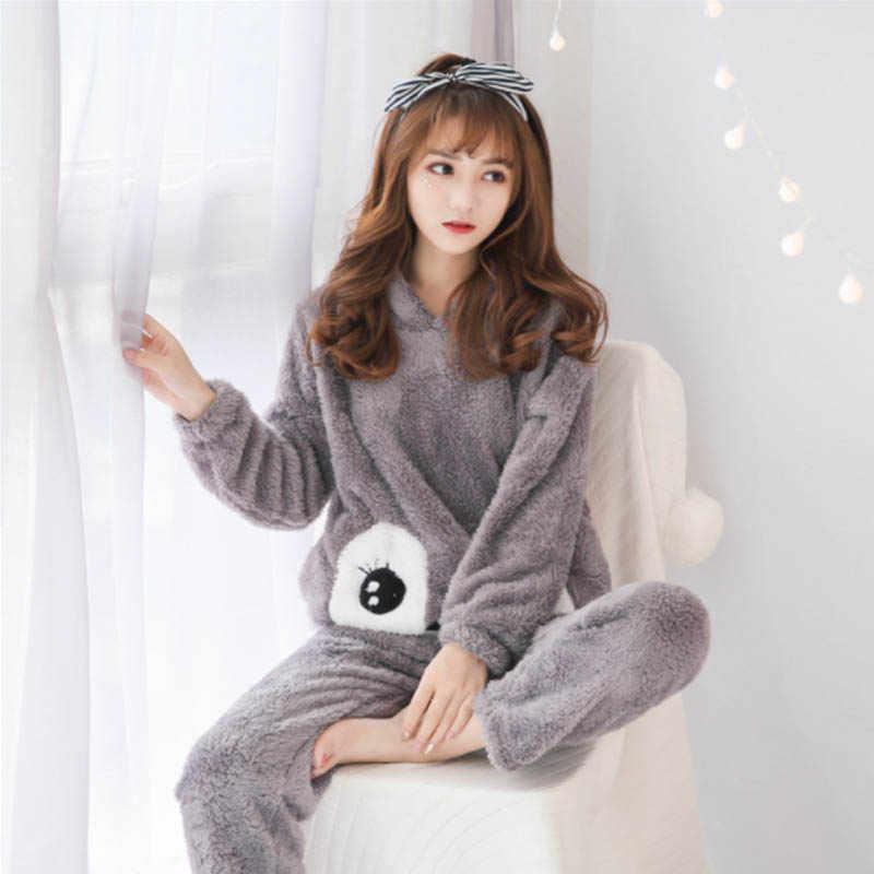FL027C Nette Cartoon Pyama Pyjamas Flanell Pijamas Mujer Pigiama Donna Pyjamas Frauen Pyjama Set Pijama Mujer Pyjamas Feminino