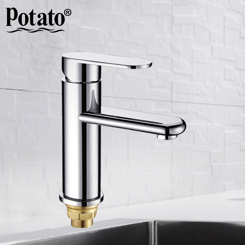 Potato new Sink Mixer Tap Vanity bath Basin Faucet Chrome Faucet Brush Hot Cold Water Bathroom