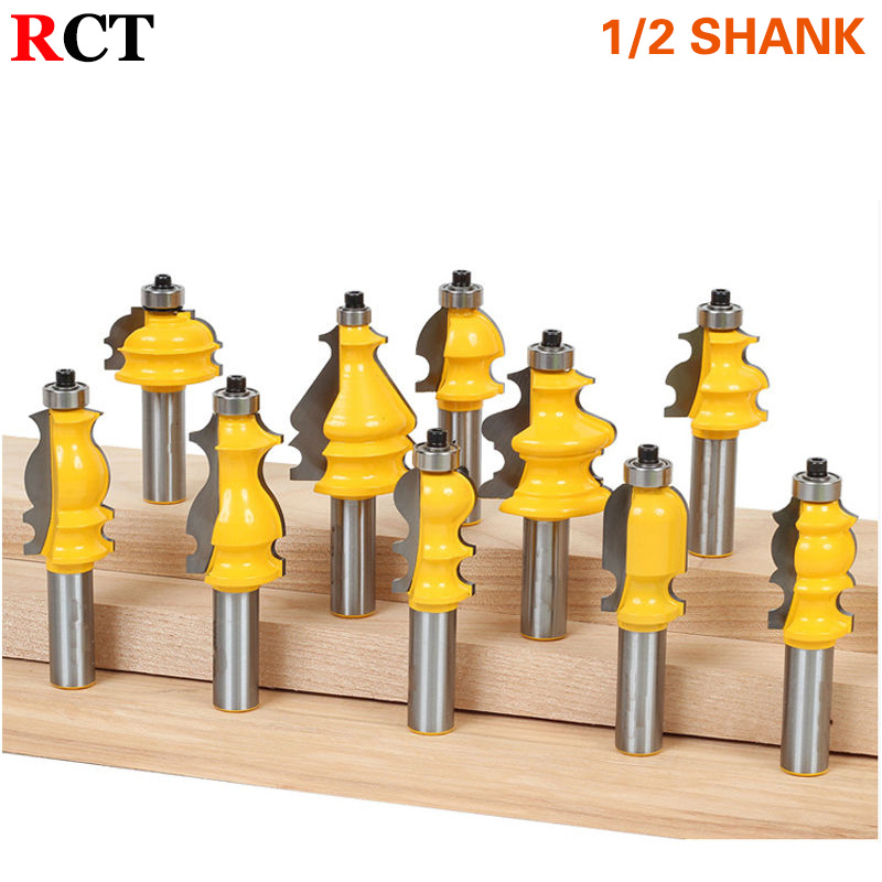 10 Bit Architectural Molding Router Bit Set - 1/2 Shank Line knife Woodworking cutter Tenon Cutter for Woodworking Tools RCT 2 pcs tongue groove router bit 1 4 shank huge crown molding tenon line cutter
