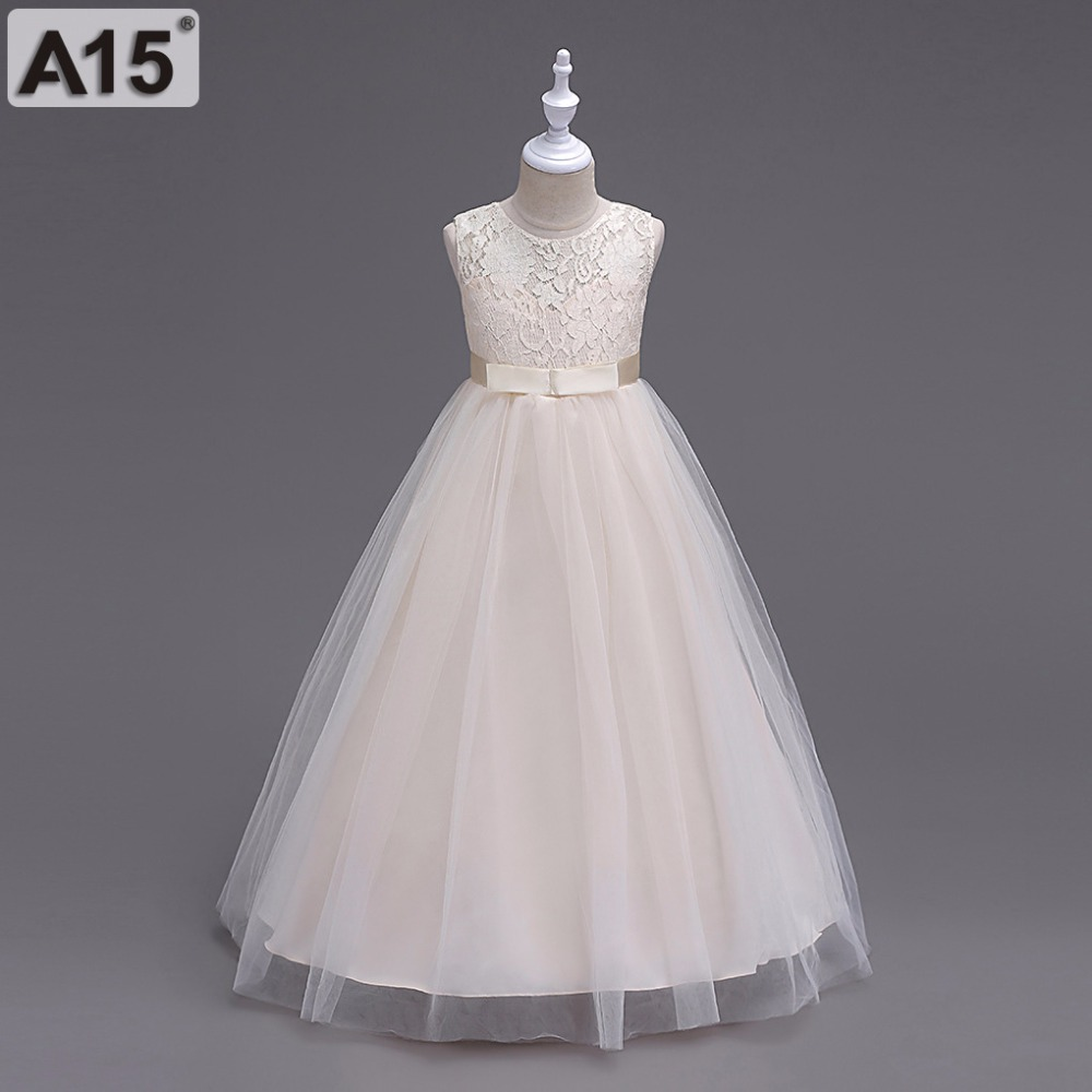 2018 Summer Kids Flower Girls Dresses for Teenagers Girl Wedding Ceremony Party Prom Dress Girls Clothes for 5 6 8 10 12 14 Year a15 fancy lace girls wedding gown summer teenage girls party costume for kids clothes children clothing girl prom ceremony dress