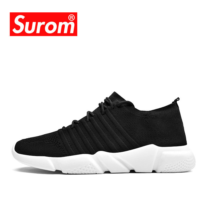 SUROM Brand Mens Flywire Sneakers Running Shoes Lightweight Air Mesh Breathable Comfortable Adult Sports Shoes For Men Krasovki