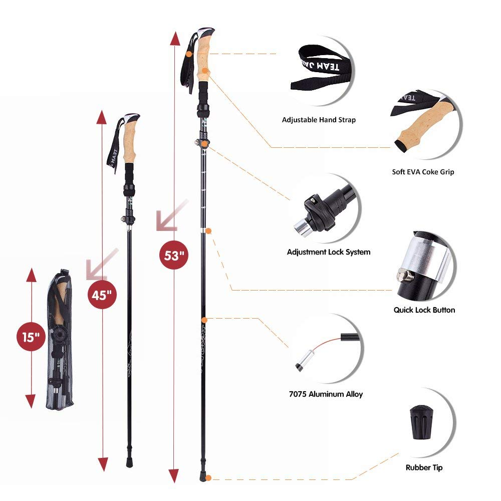 Ultra-light Adjustable Walking Sticks Telescopic Trekking Hiking Poles Climbing SkiingTrekking Collapsible Pole
