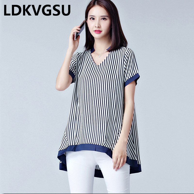 2020 Summer New Fashion Women Striped Chiffon Shirt V-neck Short Sleeve A-word Shirt Blouse Female Loose Large Size L-5XL Is420