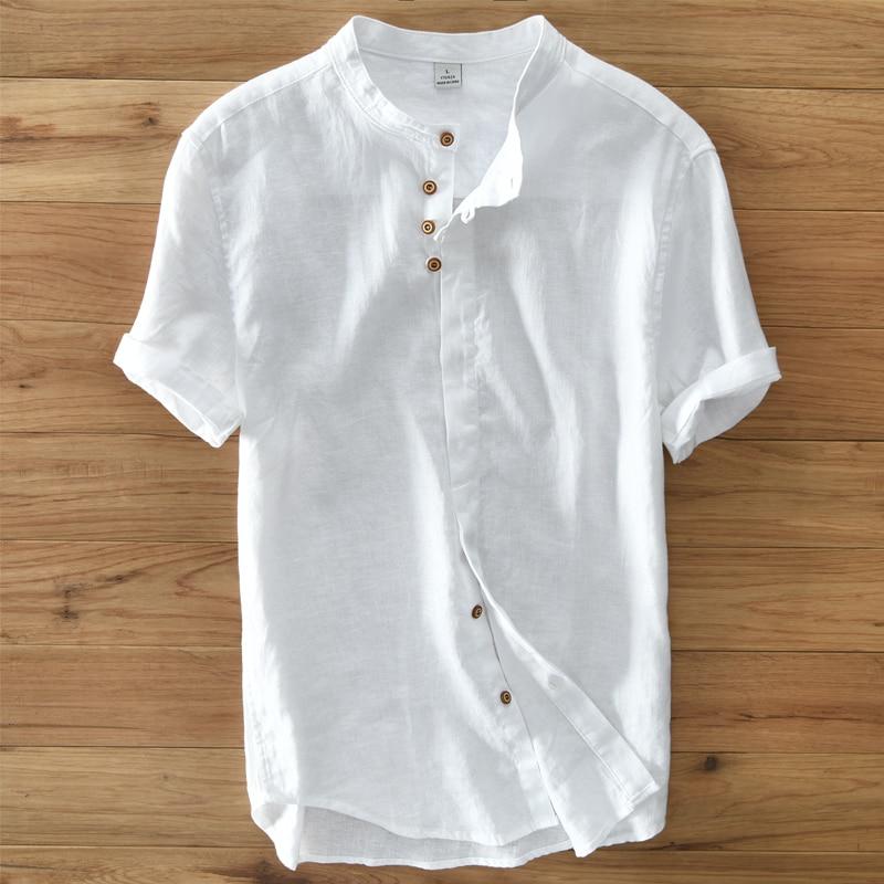 Men's summer 2017 new tide flax short sleeve shirt collar male loose thin Chinese wind pure hemp material T-shirt