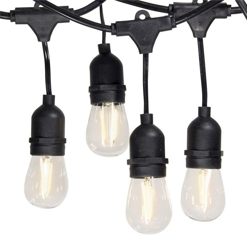 7m 15m Outdoor LED String Lights Waterproof E26 E27 S14 2W LED Retro Edison Filament Bulb Street Garden Patio Holiday Lighting цены