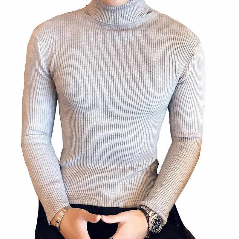 5 цветов, 2018, мужские свитера на осень и зиму, пуловер, мужской свитер с высоким воротом, джемпер, вязанный, с высоким воротом, черные свитера, M-XXL