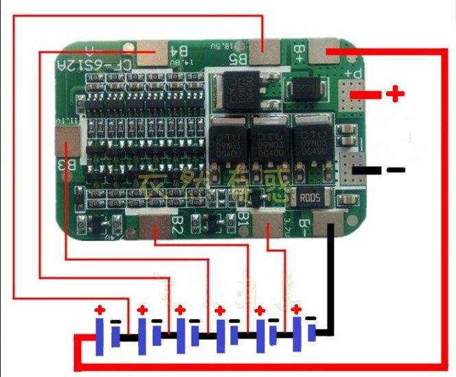 1 PC 6 S 15A 24 V panneau de Protection au Lithium pour 6 paquets 18650 PCB BMS Module de cellules de batterie Li-ion