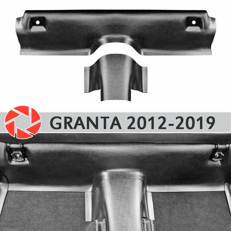 แผ่นภายใต้ด้านหลังที่นั่งครอบคลุมบนพรมสำหรับ Lada Granta 2012-2019 sill Trim อุปกรณ์เสริมพรมรถจัดแต่งทรงผม