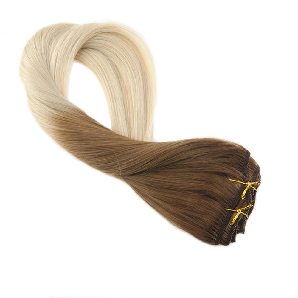 Moresoo 100G Remy Clip In Human Hair Extensions Brown #6 Fading To Blonde #60 Thick Double Weft Full Head Hair Extensions 7Pcs