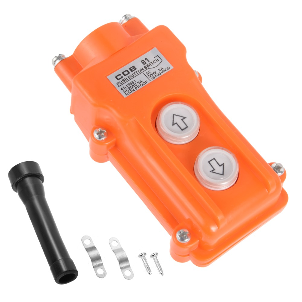 UXCELL Rainproof IP55 Hoist Crane Pendant Control Station Push Button Switch Up Down 2 Ways Orange Switches For Hoist And Crane in Switches from Lights Lighting