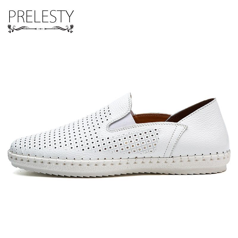 Prelesty Big Size 38-47 Genuine Cow Leather Shoes Men Casual Shoes Leather Breathable Soft Dri 43dabb