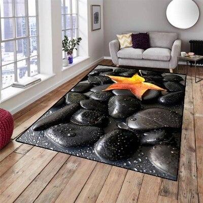 Başka bir Siyah Spa Taşlar Sarı Kırmızı Yaprak 3d Desen Baskı Kaymaz Mikrofiber Oturma Odası Dekoratif Modern Yıkanabilir Alan Kilim mat