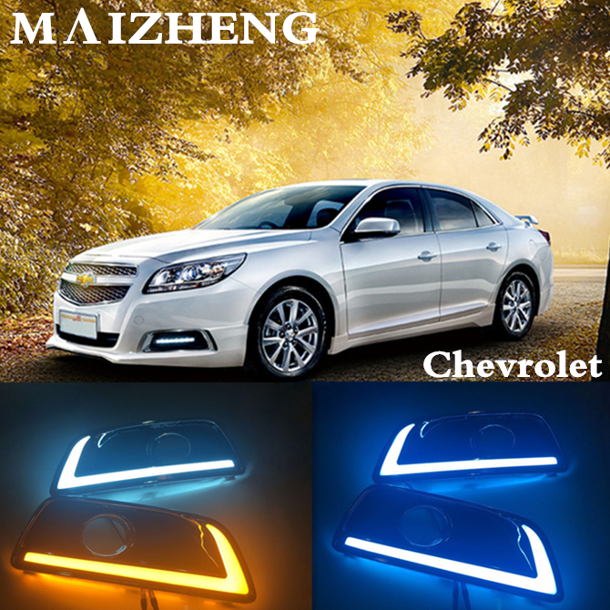 Dimming style Relay and waterproof 12V LED CAR DRL daytime running lights with fog lamp hole For Chevrolet Malibu 2016 2017kind waterproof car relay 12v 40a 4 modified car with cable