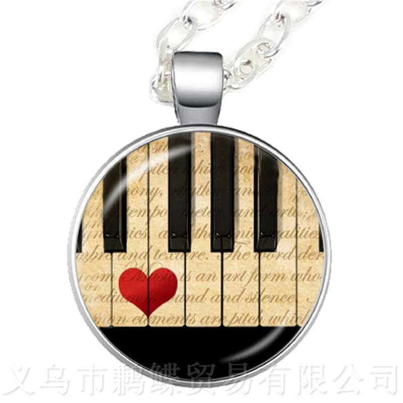 Europe And America Sell Music Art Piano Time Gem Necklace Alloy Glass Pendant Fashion Accessories Wholesale Teacher's Day Gift