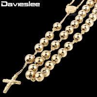 4 6 8mm Mens Chain Black Tone Stainless Steel Bead Chain Rosary Jesus Christ Cross Pendant
