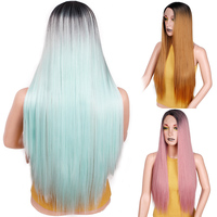Ombre Green Straight Long Front Lace Synthetic Wigs For Women Black Brown Pink Cosplay Wigs Heat Resistant I's a wig