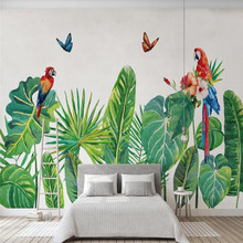 Nordic style tropical plants watercolor hand-painted leaves background wall paper mural professional production wallpaper