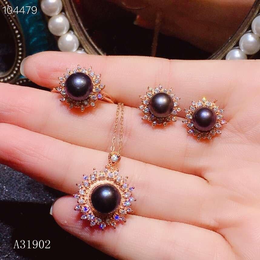 KJJEAXCMY Boutique bijoux 925 en argent sterling incrusté naturel noir perle femelle anneau collier pendentif boucles d'oreilles ensemble support dete