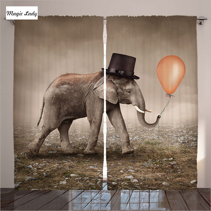Curtains Color Brown Orange Elephant Decor Fun Illusionist ...