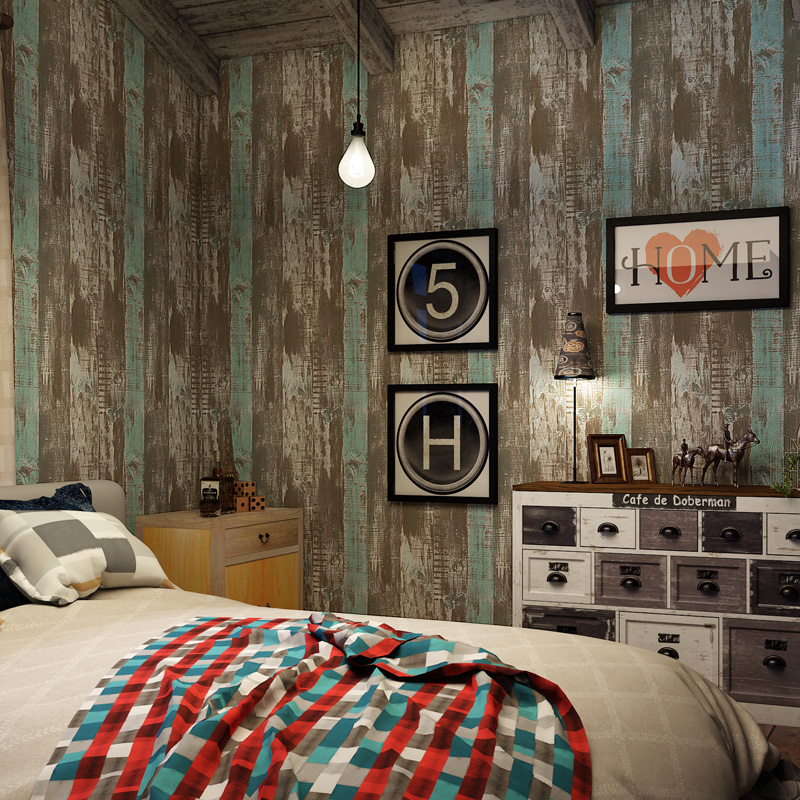 все цены на Vintage Bar Wall Decor Wallpapers Retro Wood Grain Wallpaper Boys Rooms Non-woven Wall Paper Self Adhesive Papel Pared QZ040