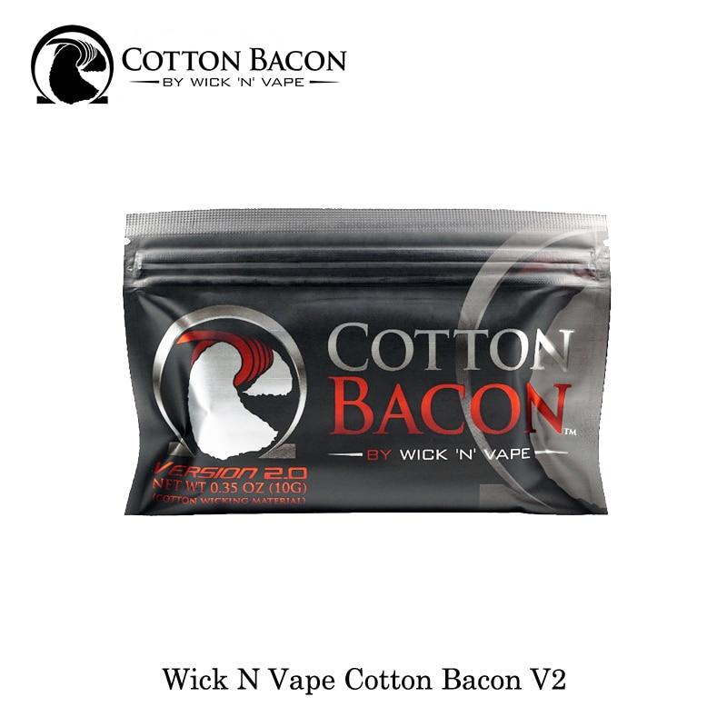 100% Organic Wick N Vape Cotton Bacon V2 Made In USA Suitable For RDA RDTA RTA Rebuild Vape Vaporizer No Chemicals/Pesticides