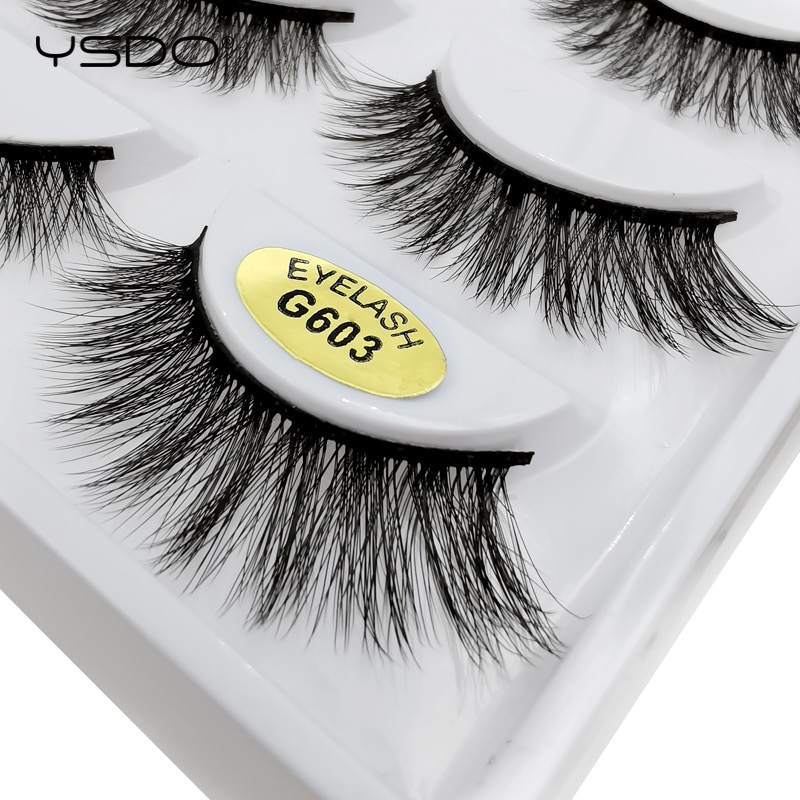 YSDO 1/5 Pairs Fake Mink EyeLashes 3D Mink Hair Lashes Natural Hair EyeLashes Long Dramatic Fluffy Faux EyeLash Cilios G603