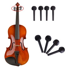 4Pcs Black Violin Tuning Pegs Wooden 4/4 Size Full Violin Fiddle Pegs Size for Violin Accessories 2 pcs violin pegs hole reamer violin pegs tools violin making tools