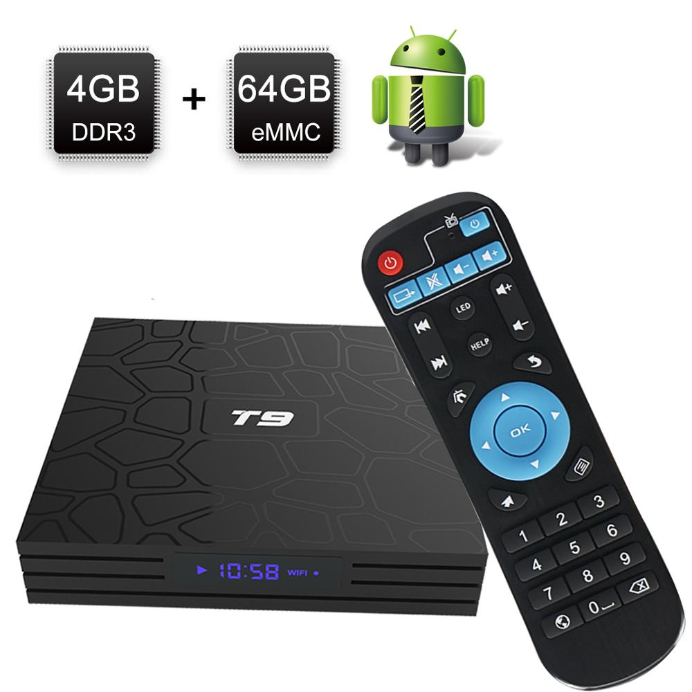 New TV Box T9 Android 8.1 4GB64GB Rockchip RK3328 32G BT4.1 Wifi 1080P H.265 4K VP9 10 Google Player Smart Set Top Box PK X96MAX-in Set-top Boxes from Consumer Electronics