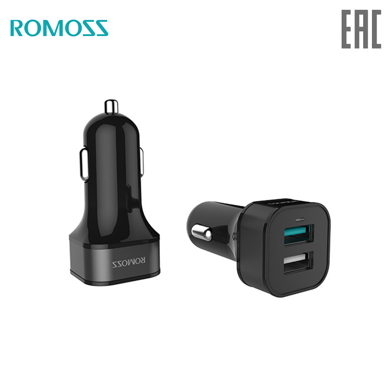 Car Charger Romoss Black Rocket Power PRO solar externa bateria portable charger for phone AU30Q-101-01 stylish car cigarette powered charging adapter charger for cell phone black 12 24v