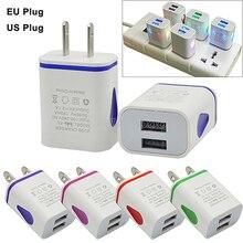 Dual USB Ports LED Light 5V 2.1A US/EU Plug Wall Home Travel Charger Adapter