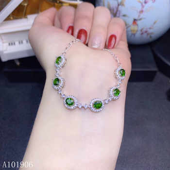 KJJEAXCMY Fine Jewelry 925 sterling silver inlaid natural diopside gemstone female bracelet support review new luxury - DISCOUNT ITEM  6% OFF All Category