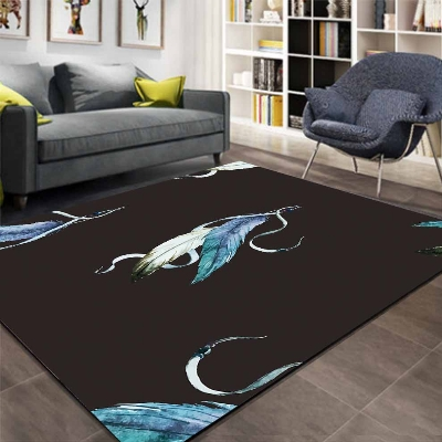 Else Black Floor White Blue Bird Feather Aztec 3d Print Non Slip Microfiber Living Room Decorative Modern Washable Area Rug Mat