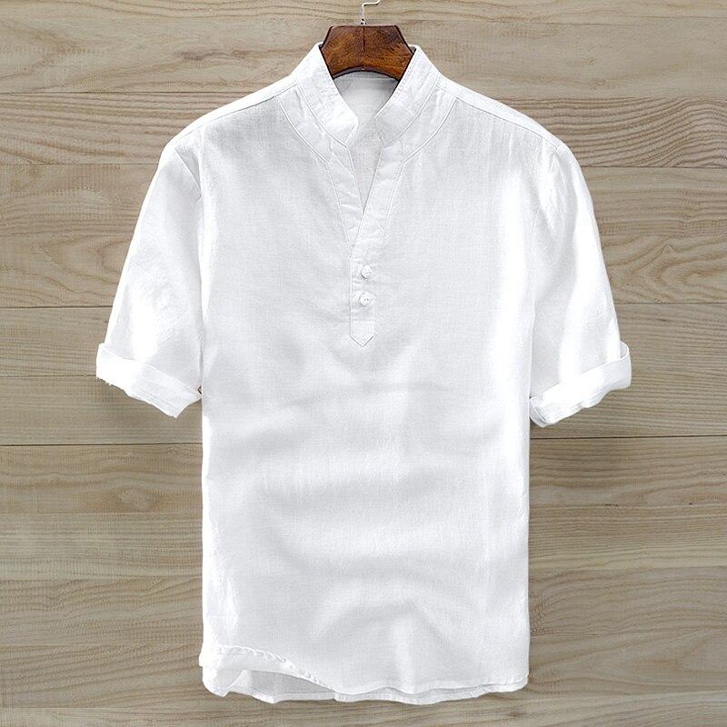 Hommes d'été linge de chemises pour hommes à manches courtes couleur pure mince modèle de Chinois hommes de col bouton pour reconstituer des manières antiques lâche t-