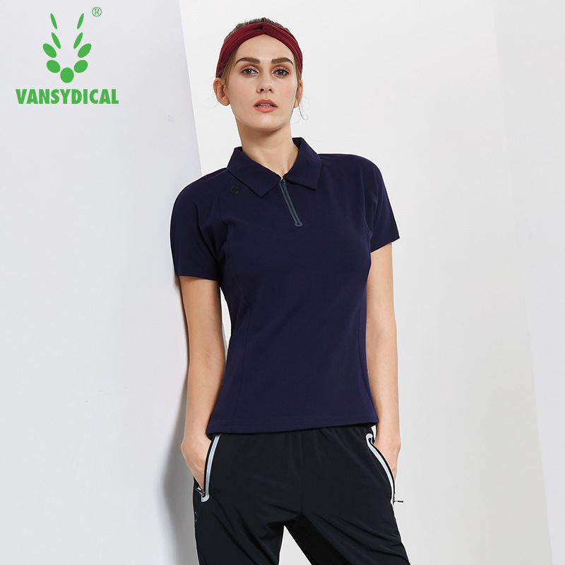 Womens Half Zipper Golf Polo Shirts Short Sleeve Cotton Breathable Outdoor Workout Tennis Golf Jerseys Sports Tops