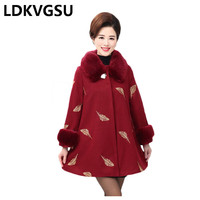 Middle aged Women Woolen Coat 2018 Autumn Winter New Fur Collar Embroidered Female Woolen Overcoat Large Size 5XL Is386