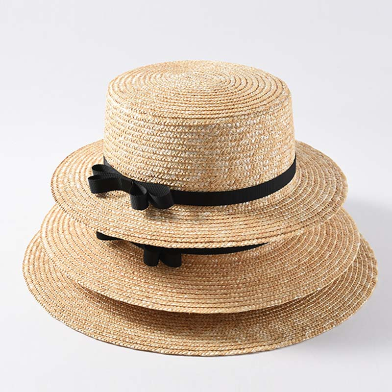 Wholesale Top Quality Classical Summer Beach Hat Wide Brim Straw Boater Canotier Sun Hats For Women 56-58cm