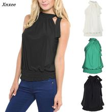 2018 Xnxee Women Shirt Elegant Casual Solid Stand Neck Sleeveless Off Shoulder Lace-up Bow Loose Top Plus Size Green Black White
