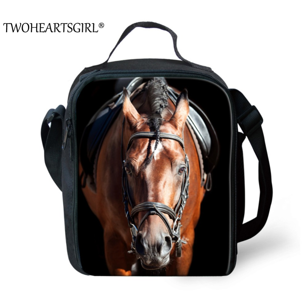 TWOHEARTSGIRL Classic War Horse Prints Lunch Bag for Kids Lunch Boxes Portable School Student Lunch Food Bags with Side Pocket